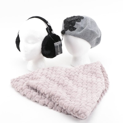 August Hat Company Wool Blend Beret, INC Faux Fur Infinity Cowl and Earmuffs