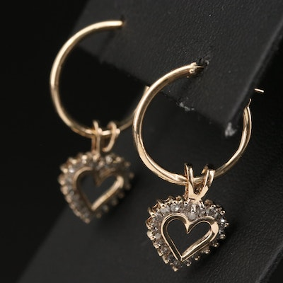 14K Hoop Earrings with 10K Diamond Heart Enhancer