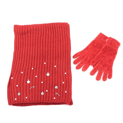 Charter Club Charm-Embellished Red Knit Scarf with Chenille Gloves