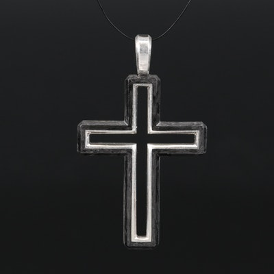 David Yurman Sterling Silver Forged Carbon Cross Pendant