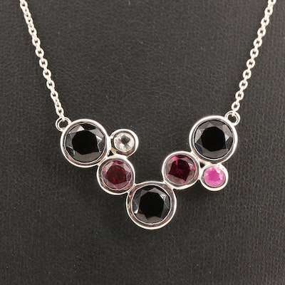 Sterling Silver Garnet, Ruby and White Topaz Geometric Necklace