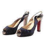 Christian Louboutin Satin Peep Toe Slingback Platform Heels