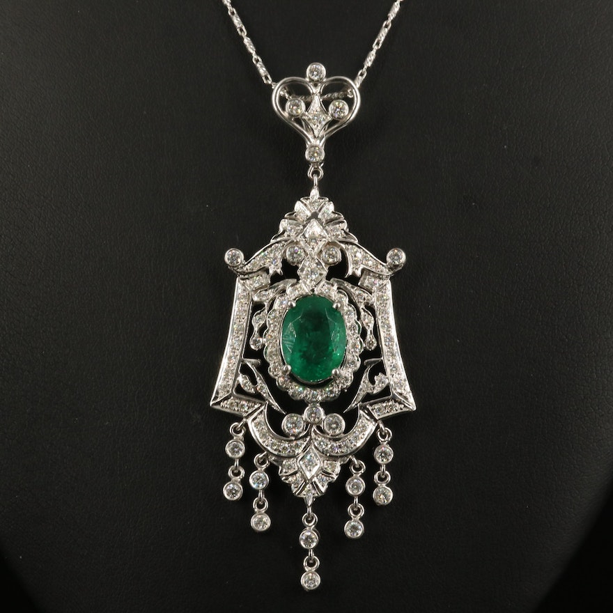 14K 4.28 CT Emerald and 1.71 CTW Diamond Dangle Pendant Necklace