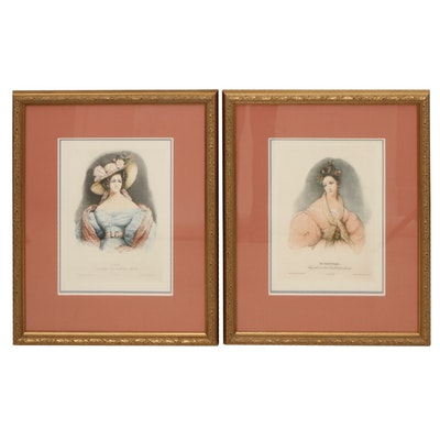 "Color Lithograph after Emile Lassalle ""L'été"" and ""Le Printems"""