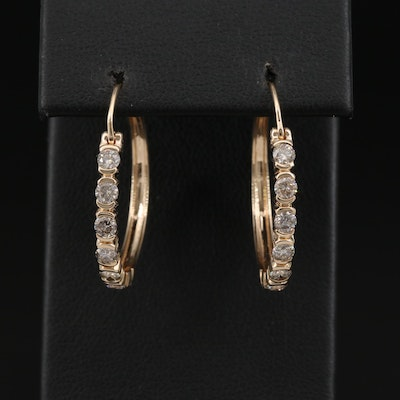 14K 1.00 CTW Diamond Hoop Earrings