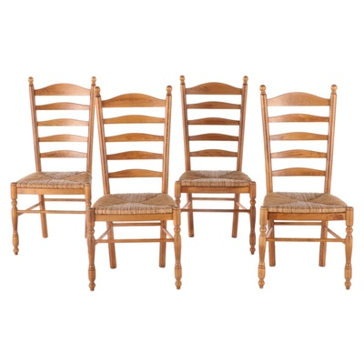 Four Pottery Barn Italian Provincial Style Beech Ladderback Side Chairs