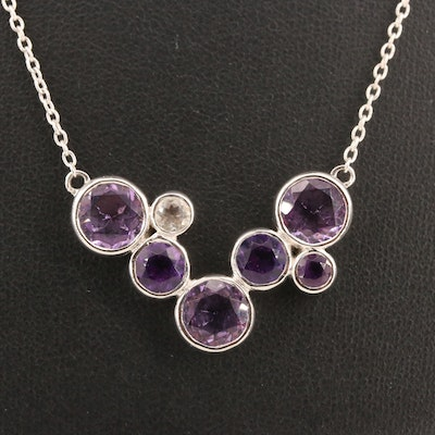 Sterling Silver Amethyst and Topaz Geometric Cluster Necklace