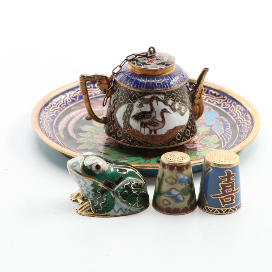 Miniature Chinese Cloisonné Teapot, Frog Figurine, Thimbles, and Decorative Dish