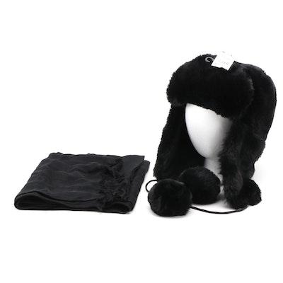 INC Black Faux Fur Ushanka Style Hat and Pashmina Style Scarf Wrap