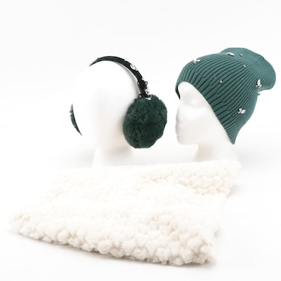 INC International Concepts Infinity Cowl, Green Embellished Beanie and Earmuffs