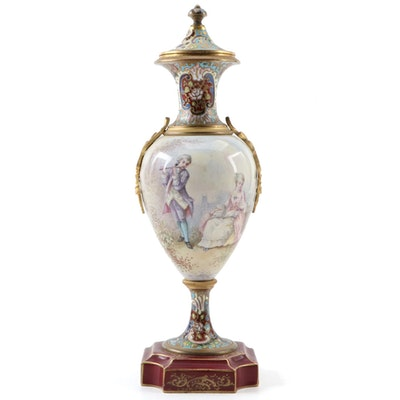 Sevres Style Champleve and Hand-Painted Porcelain Urn