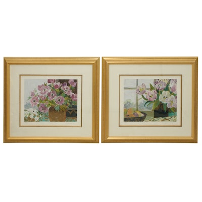 "Ellen Dunn Serigraphs ""Purple Flowers, Gold Vase"" and ""St. Tropez Tulips"""