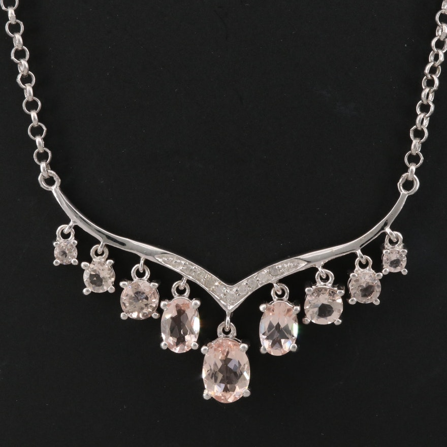 Sterling Silver Morganite and Cubic Zirconia Necklace