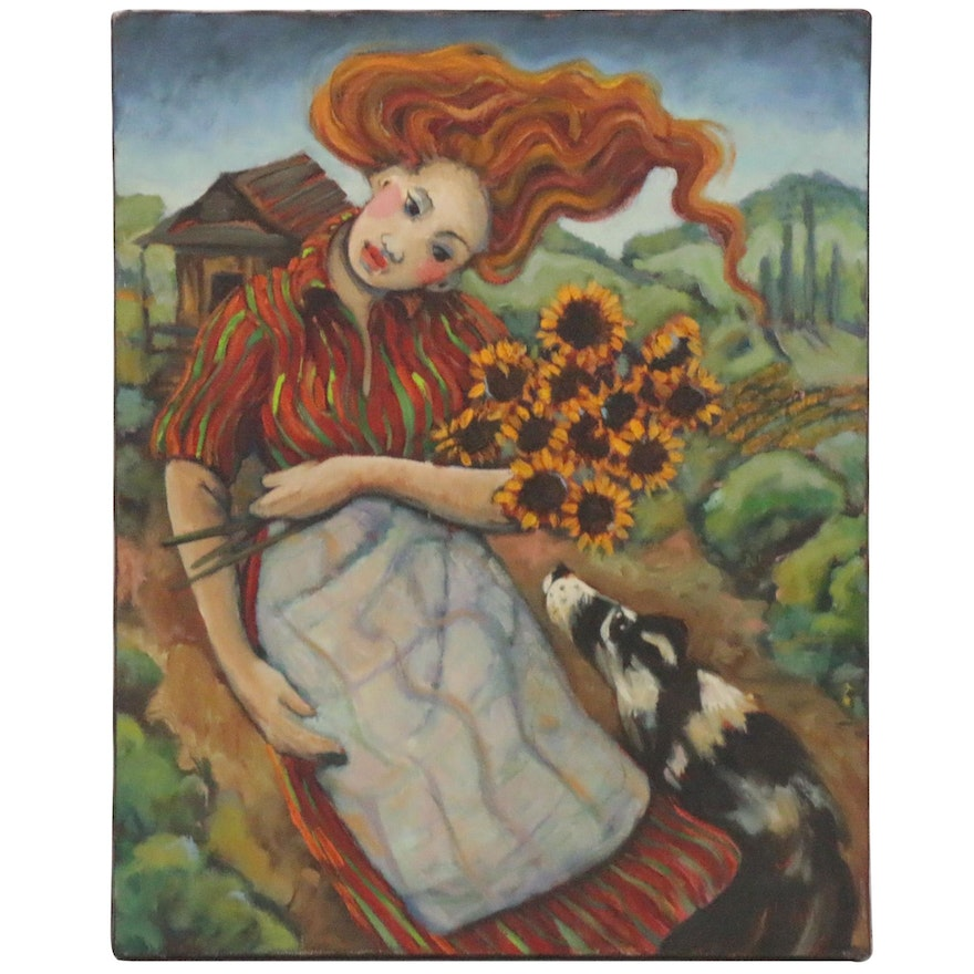 Folk Style Oil Painting of Woman with Sunflowers and Dog, 21st Century