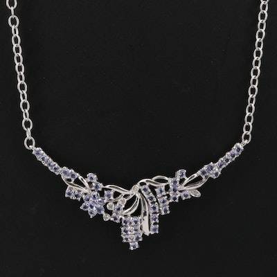 Sterling Silver Tanzanite and Diamond Stationary Foliate Pendant Necklace