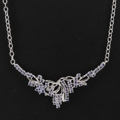 Sterling Silver Tanzanite and Diamond Stationary Foliate Pendant Necklace