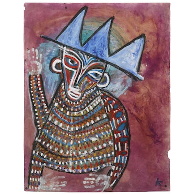 Karl Mullen Mixed Media Painting of Abstract Figural Portrait