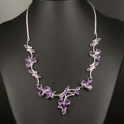 Sterling Amethyst Floral Stationary Necklace