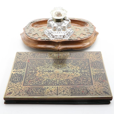 Victorian Boulle Blotter and Wooden Inkstand with Priced Metal Overlay