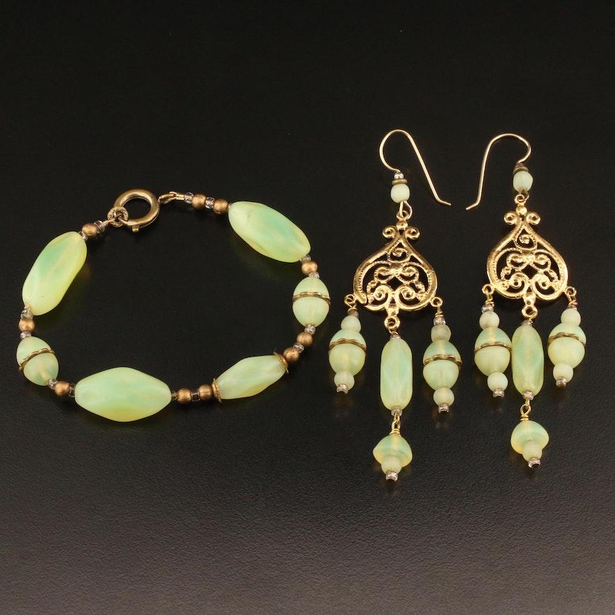 Vintage Uranium Czech Glass Bracelet and Earring Set