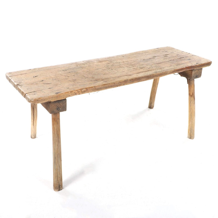Primitive Weathered Wood Bench, 18th Century