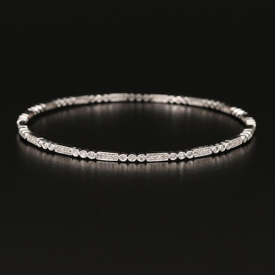 14K Diamond Bangle