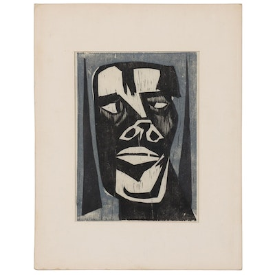 Abstract Woodblock Portrait, Mid-Late 20th Century