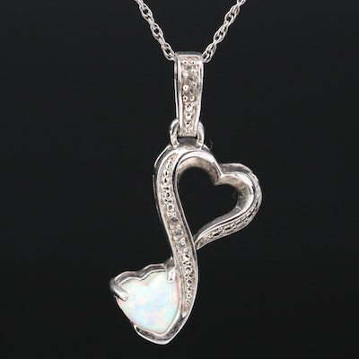Sterling Silver Opal and Topaz Heart Pendant Necklace