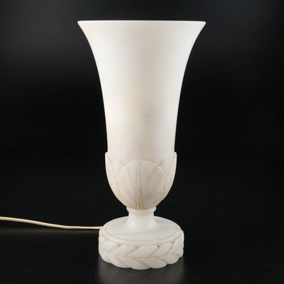 Carved Alabaster Torchiere Accent Lamp, Mid-20th Century