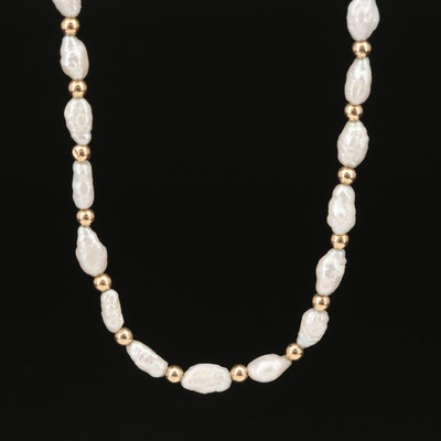 14K Baroque Pearl Beaded Necklace
