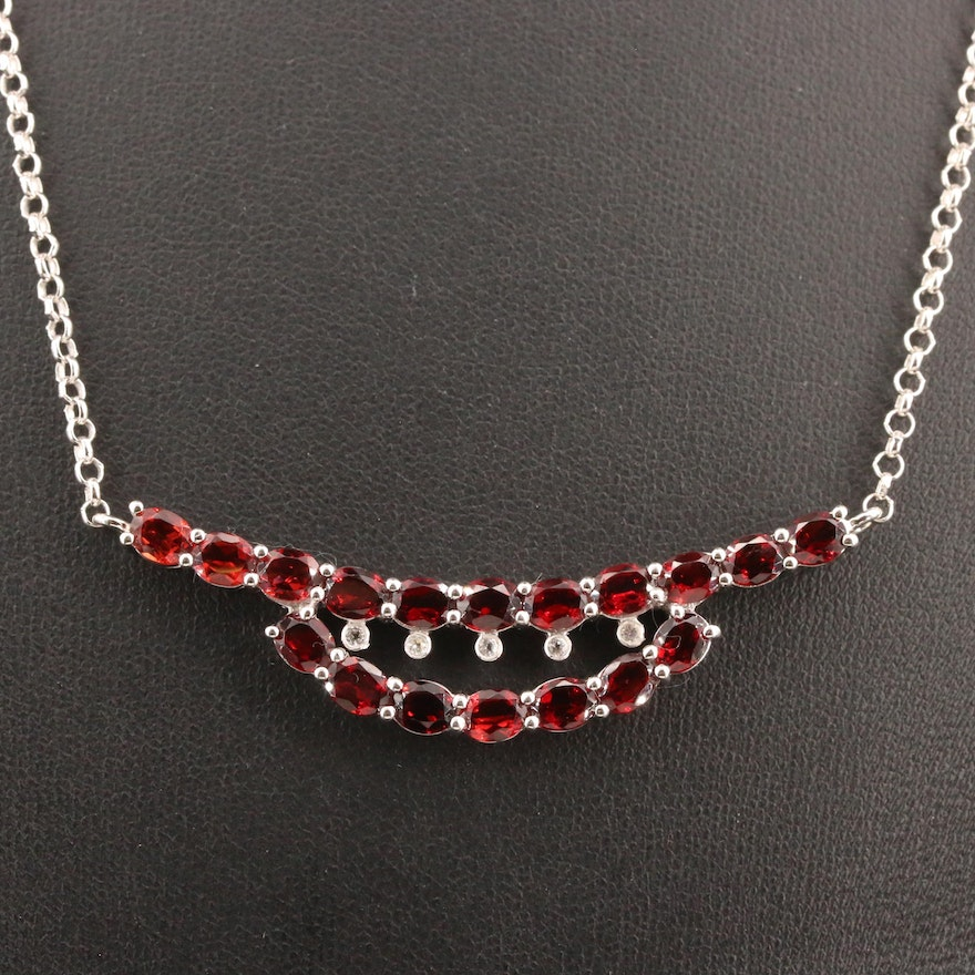 800 Silver Garnet and White Topaz Stationary Pendant with Sterling Chain