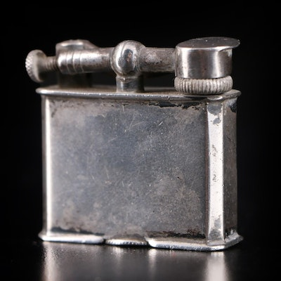 Mexican Sterling Silver Lift Arm Cigarette Lighter, Mid-20th Century