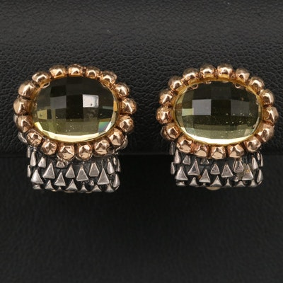 Dian Malouf Sterling Clip Earrings with 14K Accents