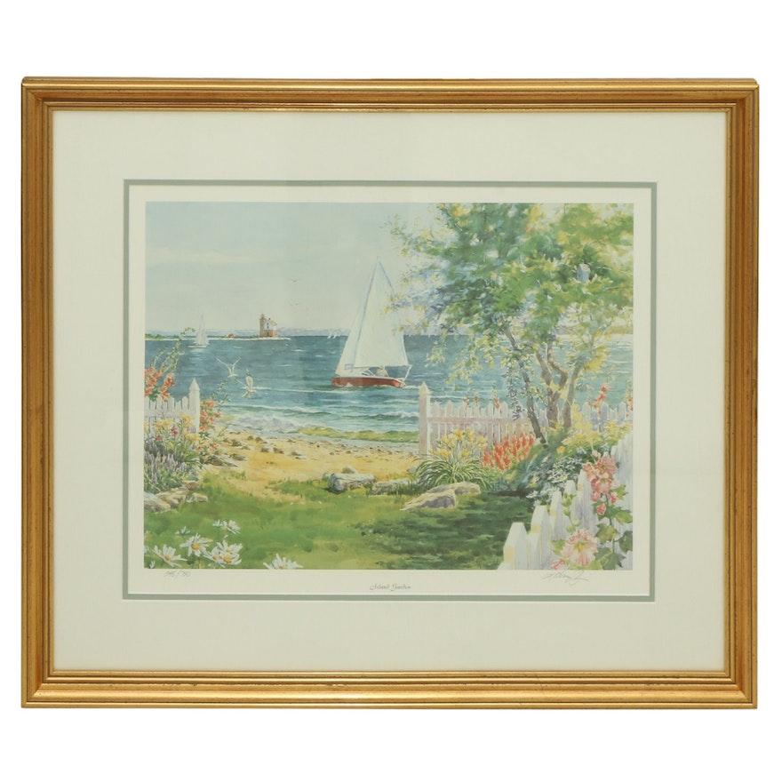 "Kathleen Chaney Fritz Offset Lithograph ""Island Garden"""