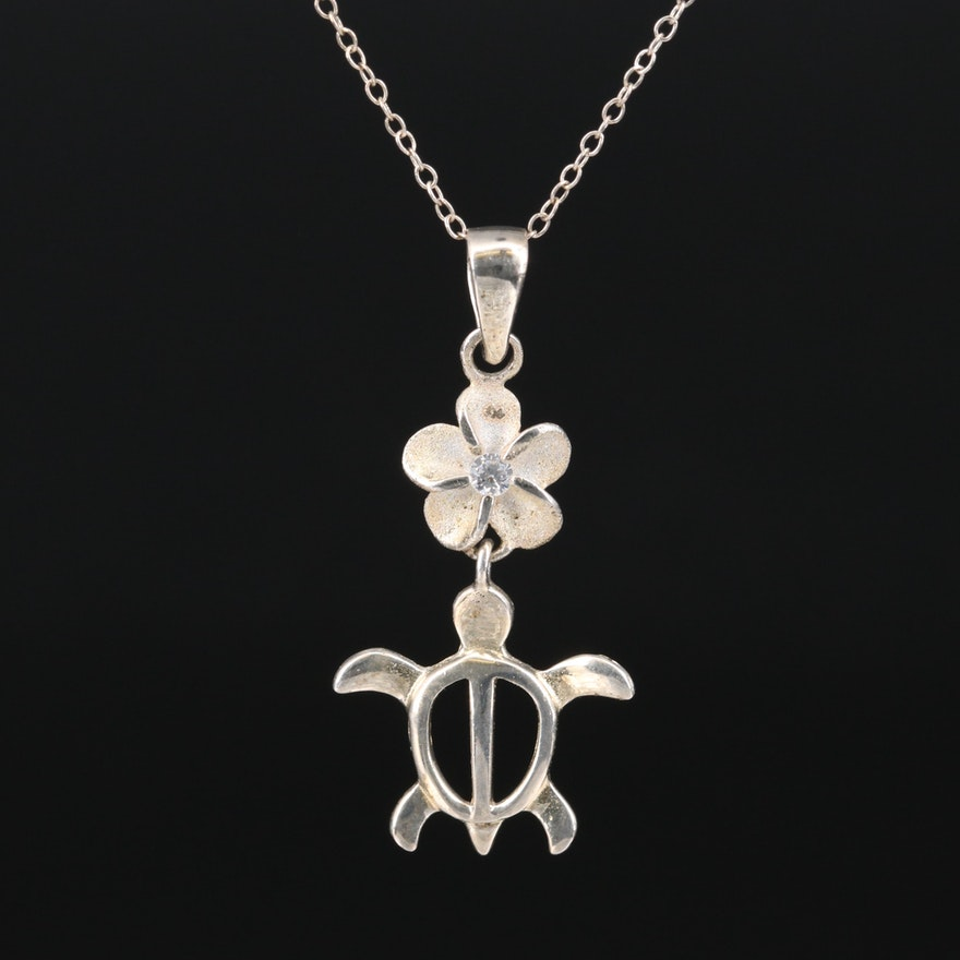 Sterling Silver Cubic Zirconia Turtle and Plumeria Flower Necklace
