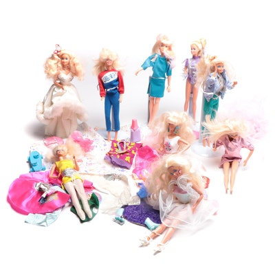 Mattel Barbies with Cases, Clothes, and Other Accessories