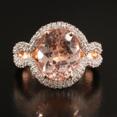 14K Rose Gold 4.49 CT Morganite and White Zircon Ring