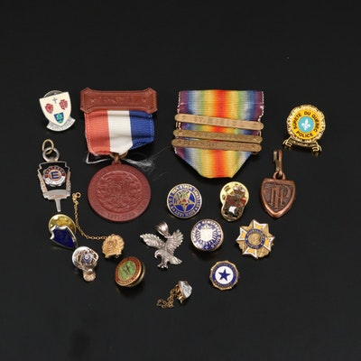 Assortment of Pins, Medals and Pendants Featuring Sterling Eagle Pendant