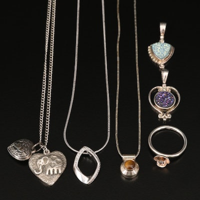 Sterling Ring, Pendants and Necklaces with Diamond, Tiger's Eye Quartz and More