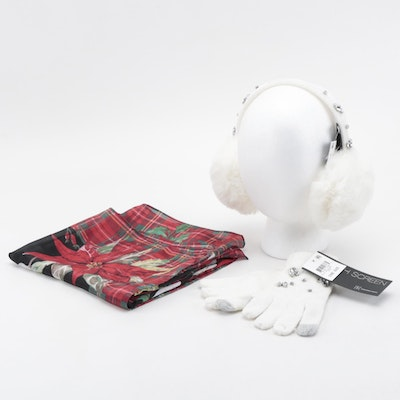 INC Embellished White Earmuffs and Gloves with Charter Club Plaid Scarf
