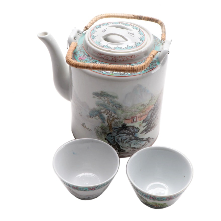 Chinese Enameled Porcelain Teapot and Teacups, Late 20th Century