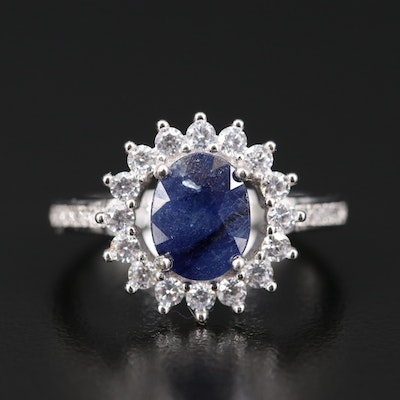 Sterling Silver Corundum and Cubic Zirconia Halo Ring
