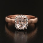 Sterling Morganite Solitaire Ring