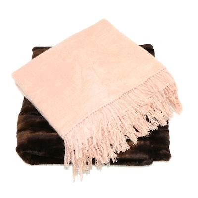 Silk and Faux Fur Throw Blankets