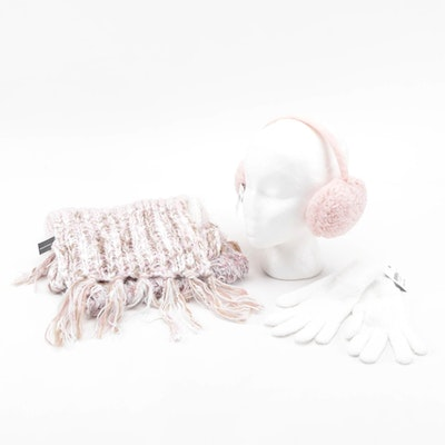 INC Blush Earmuffs and Striped Scarf with Charter Club White Gloves