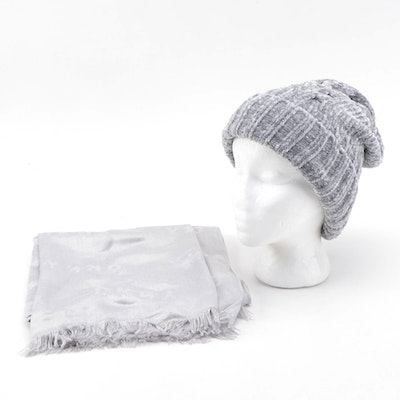 DKNY Silver Scarf with Charter Club Gray Knit Beanie