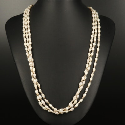 Baroque Pearl Triple Strand Necklace