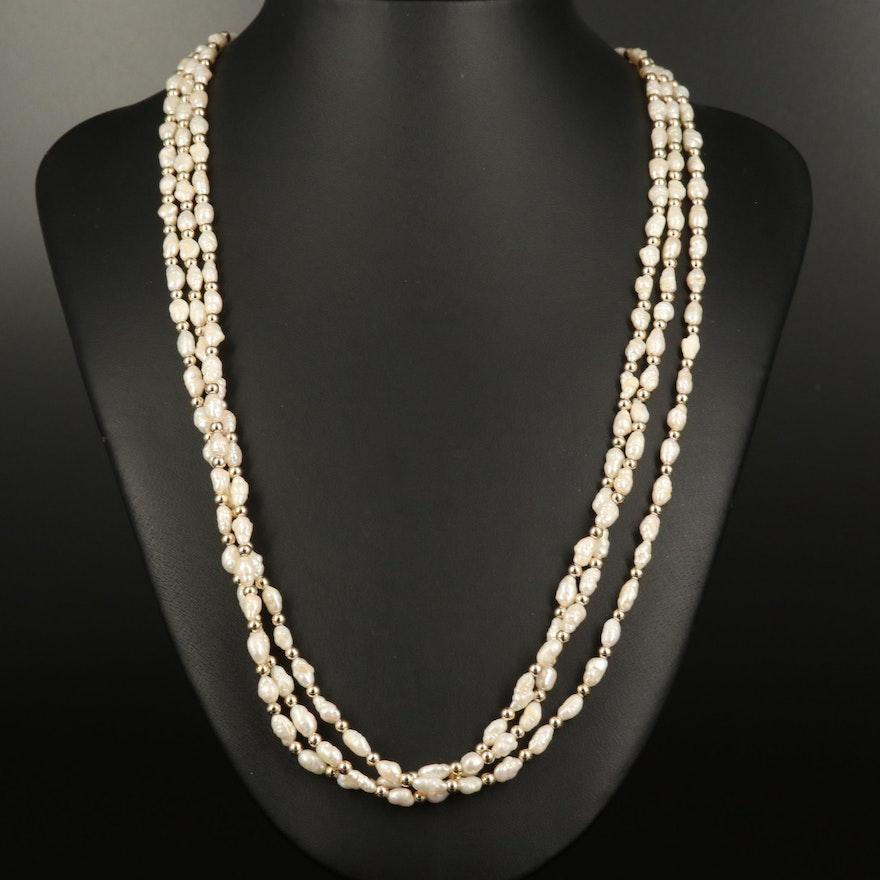 Baroque Pearl Triple Strand Necklace