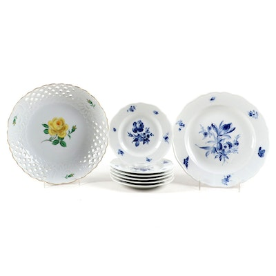 Meissen Yellow Rose Reticulated Bowl and Blue Flower Plates, Mid- Late 20th C.
