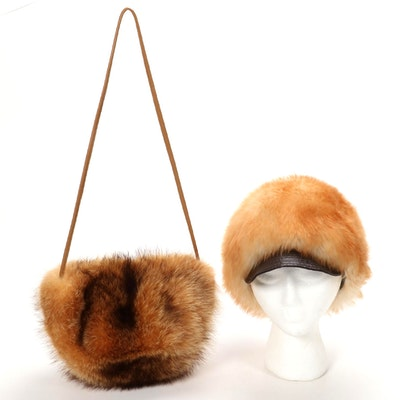 Fox Fur Crossbody Bag with Italian Shearling Hat